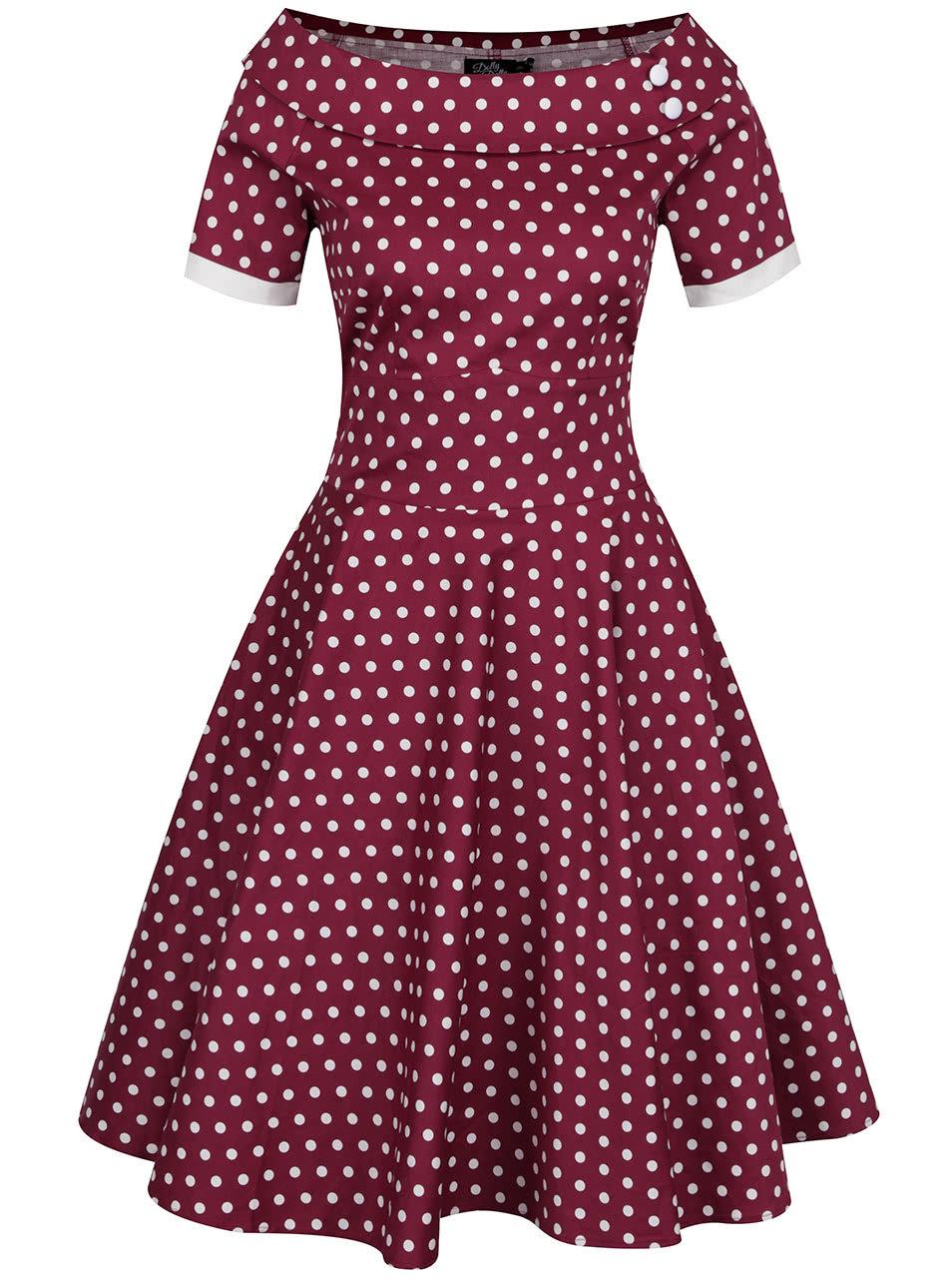 8d724080dc39 Fialové bodkované šaty Dolly   Dotty ...