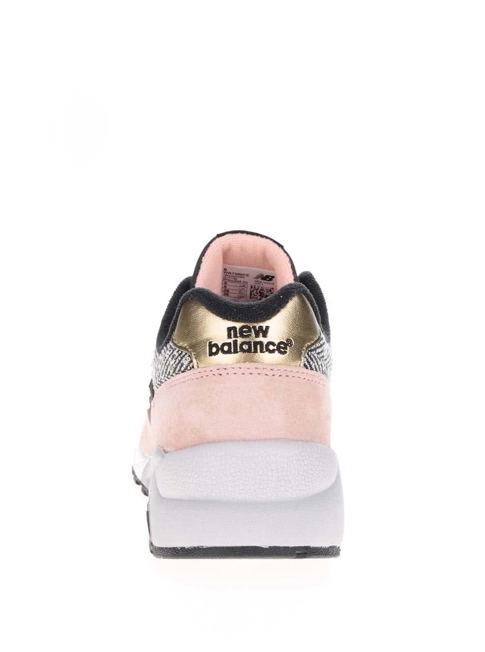 93b2b3bb36 Ružovo-čierne dámske kožené tenisky New Balance ...