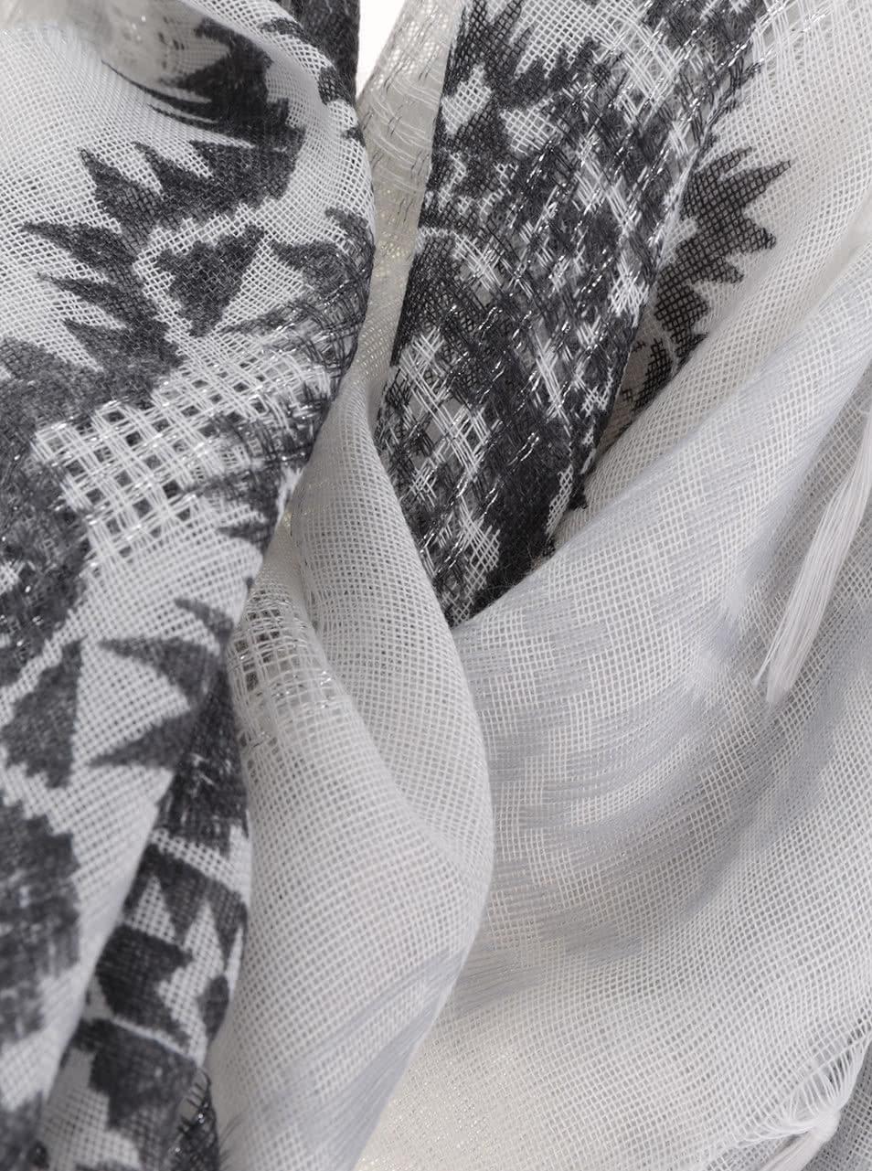 70b0de9edfd Krémový šátek s šedými ornamenty Desigual White Silve ...
