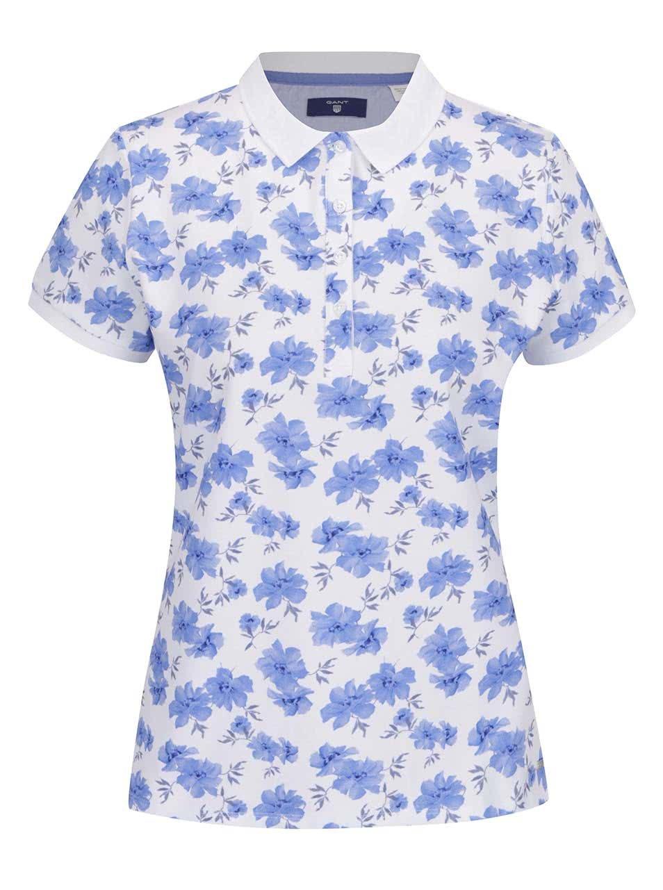 26bebc63580b Modro-bílé dámské květované polo tričko GANT Pique ...
