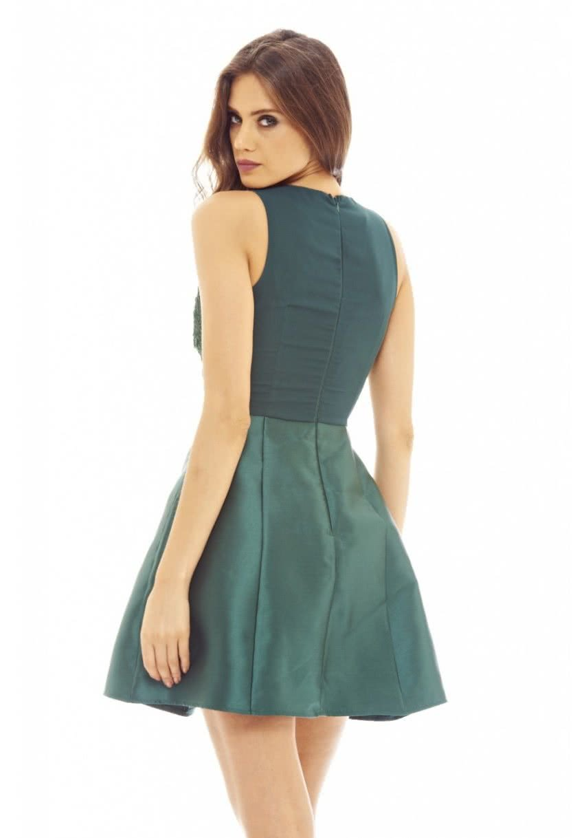 5e0cb3e32 Tmavozelené šaty s čipkou AX Paris | ZOOT.sk