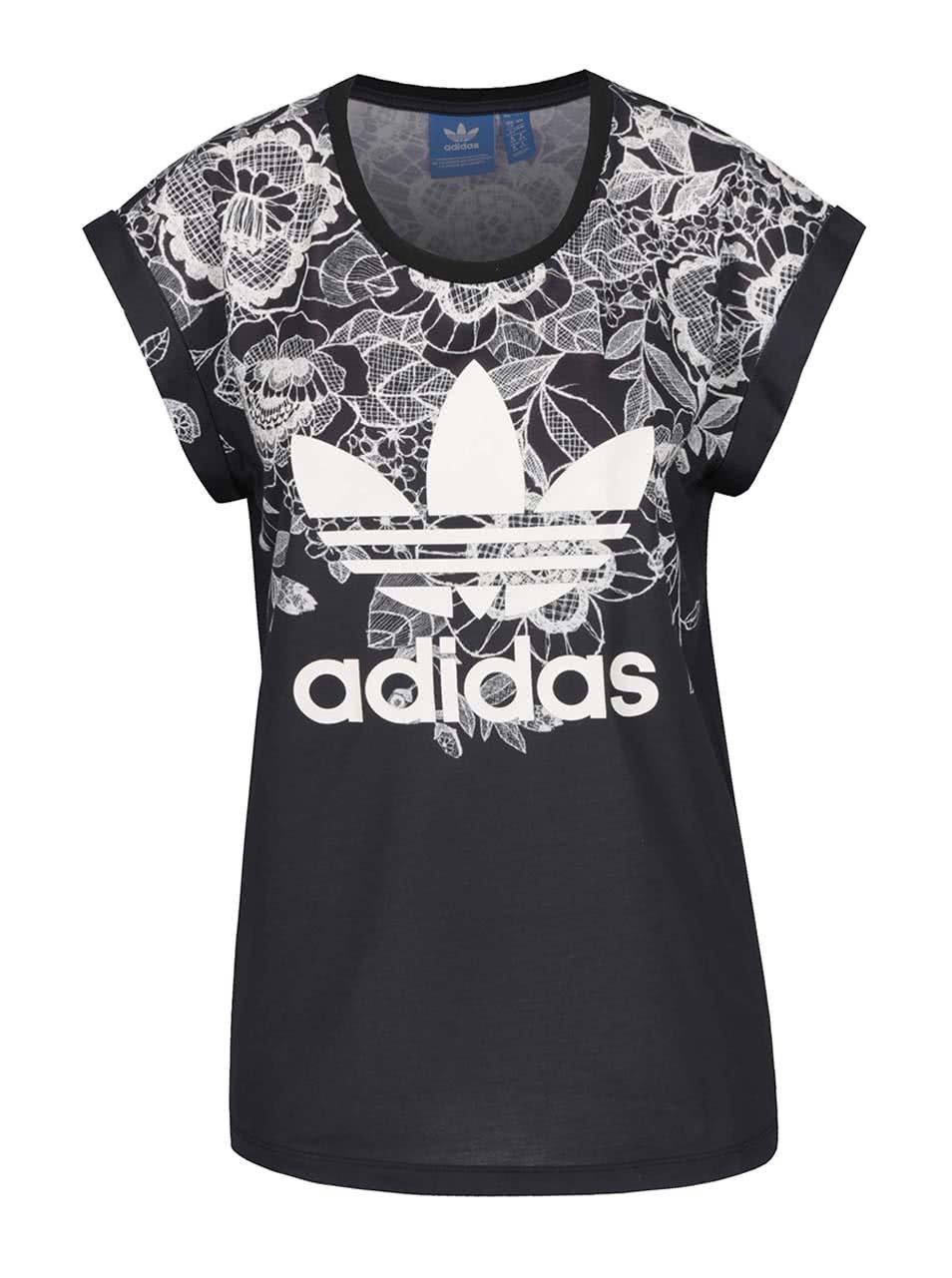 9c2bc2bff390 Čierne dámske vzorované tričko adidas Originals Florido ...