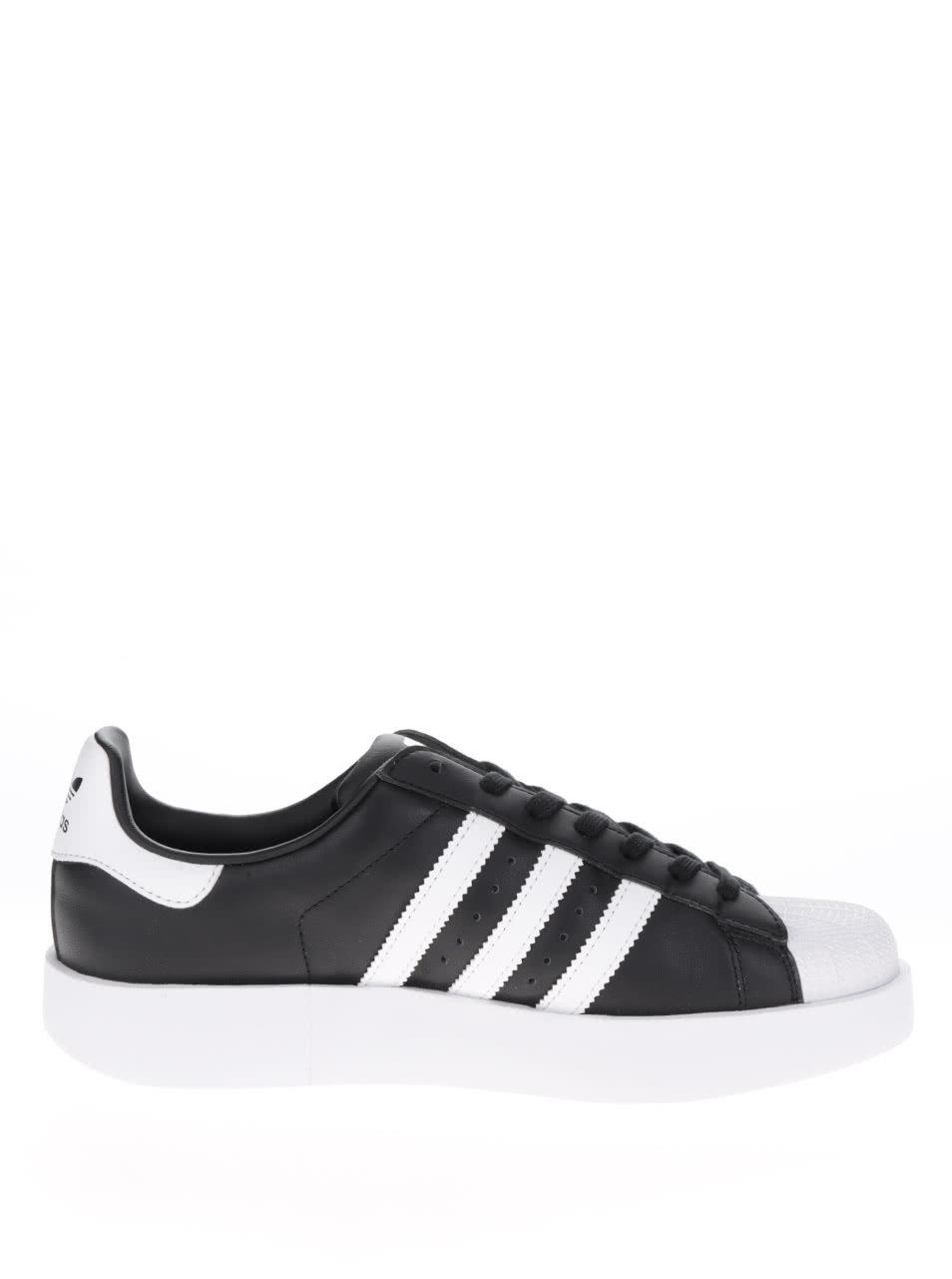 Černé dámské kožené tenisky na platformě adidas Originals Superstar ... 85b279e5bd
