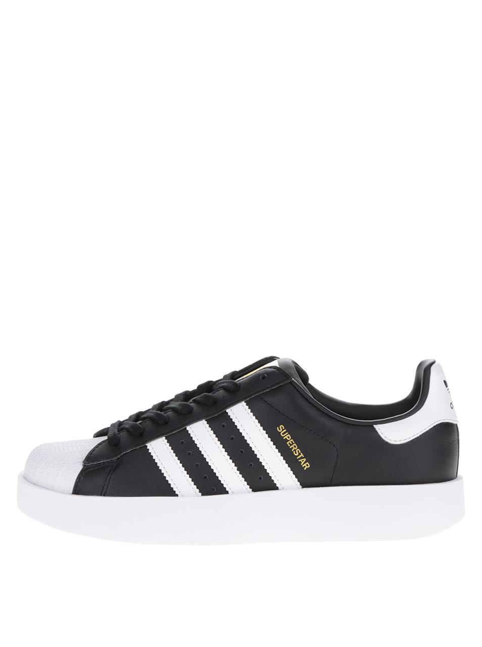 Čierne dámske kožené tenisky na platforme adidas Originals Superstar ... eba70a628e1