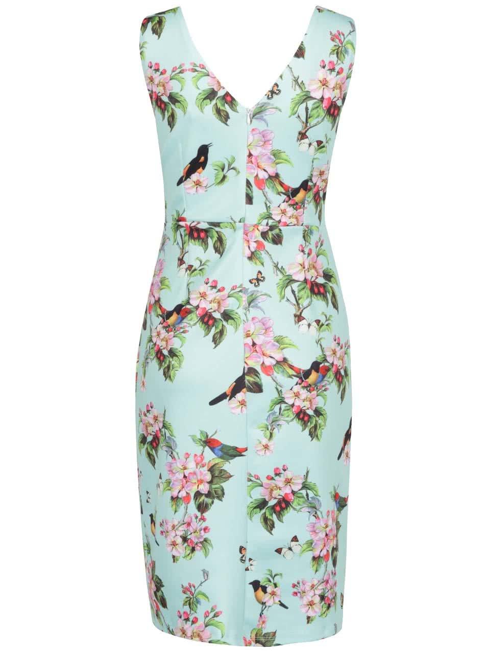575ccb9094b9 Mentolové kvetované šaty s potlačou vtákov Smashed Lemon ...
