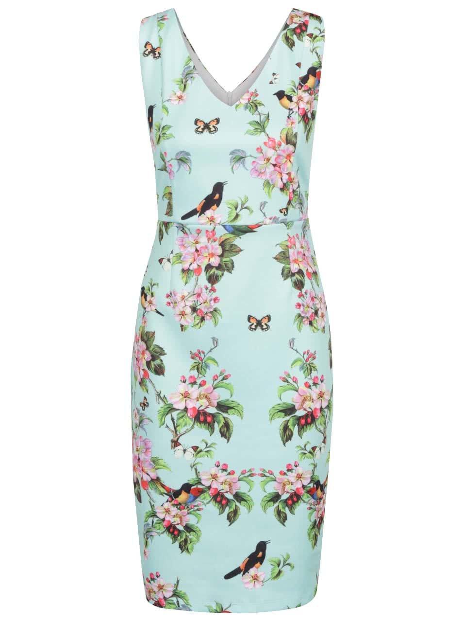 Mentolové květované šaty s potiskem ptáků Smashed Lemon