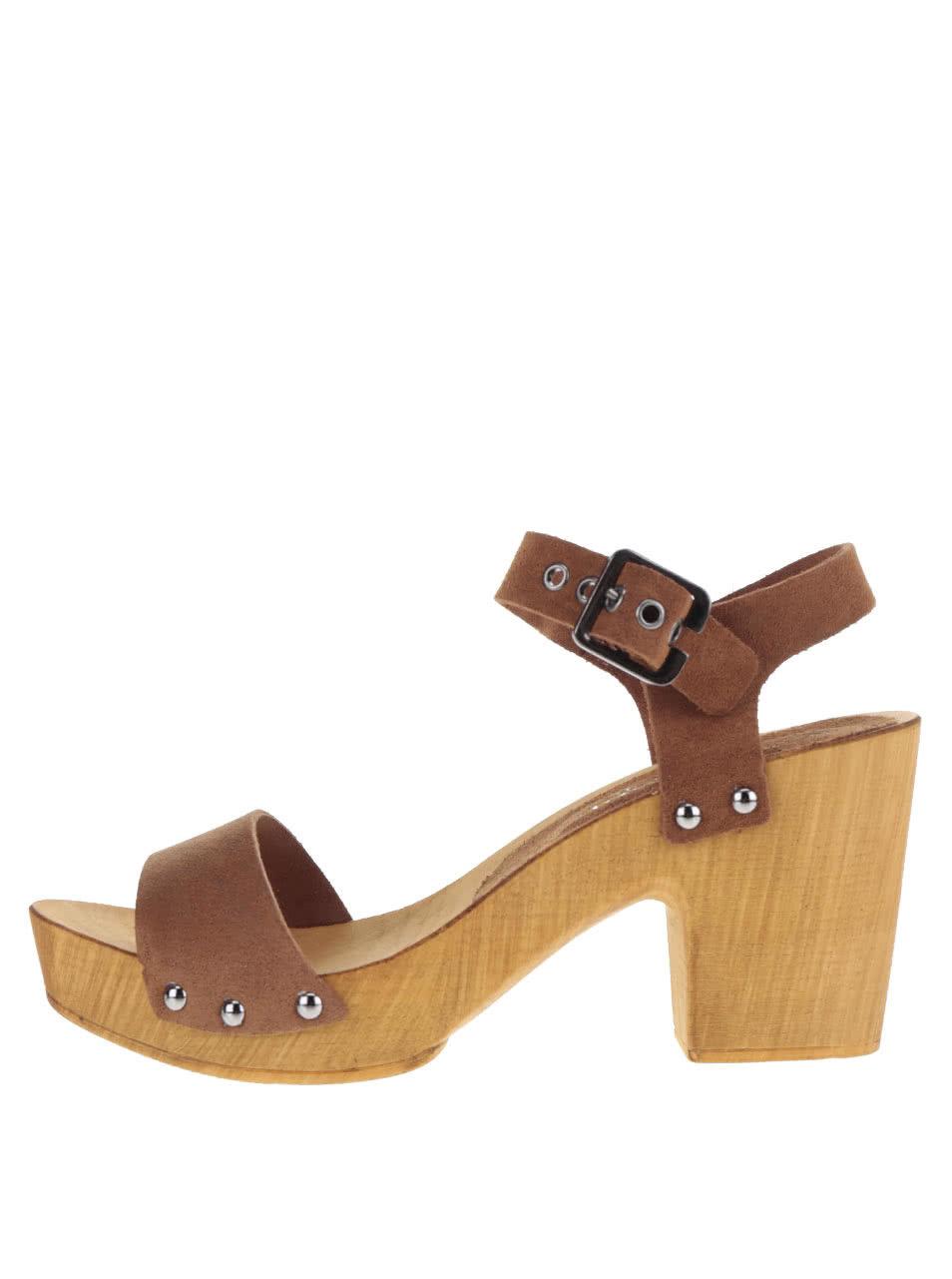 ad93861a63e Hnědé kožené sandálky na širokém podpatku VERO MODA Sima ...