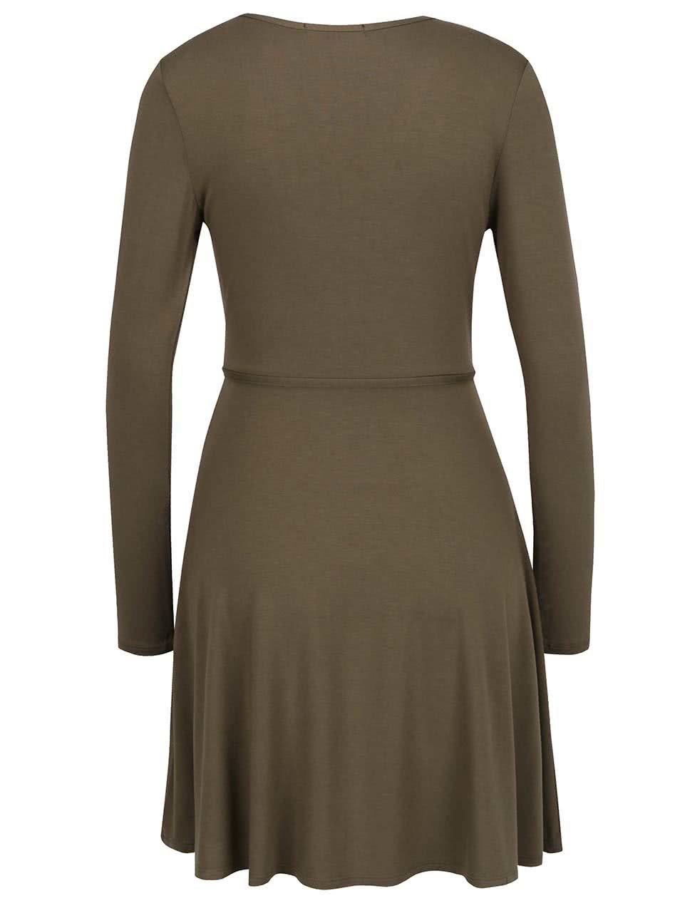 7dab9504c53c Khaki šaty s překládaným výstřihem TALLY WEiJL ...