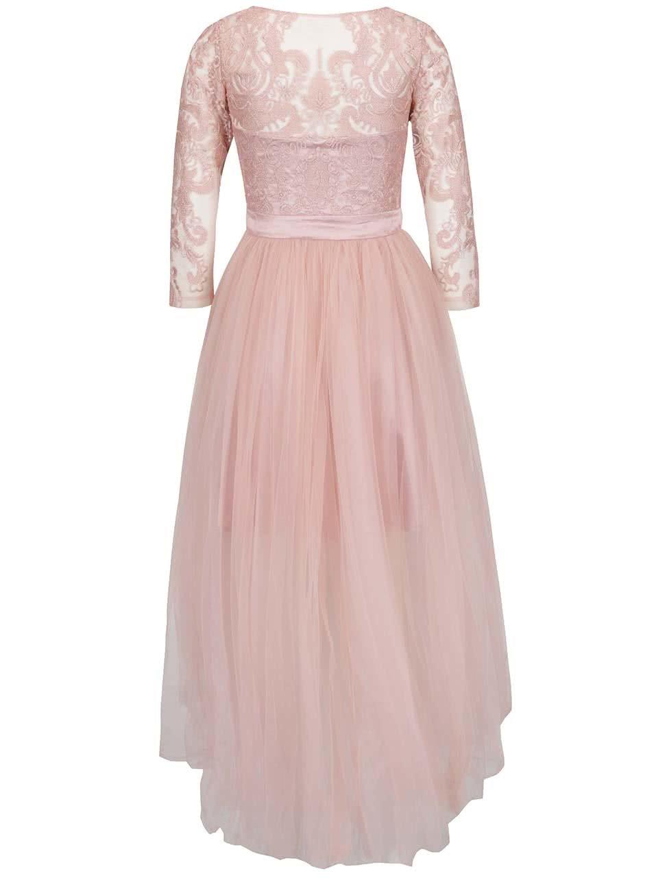 8b11a65df1ba Svetloružové šaty s čipkovaným topom Chi Chi London Sierra ...