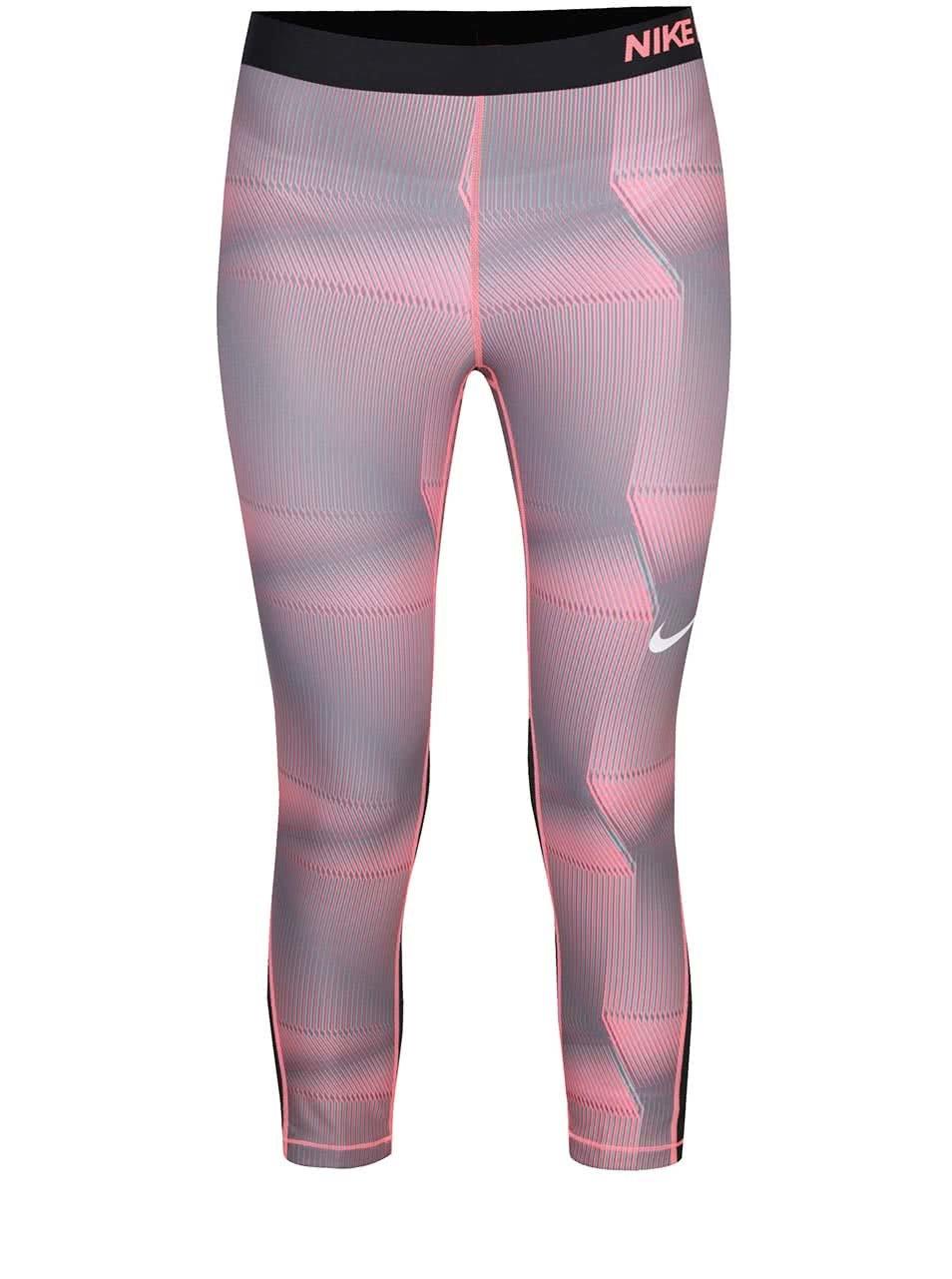 Ružovo-sivé dámske vzorované funkčné 3 4 legíny Nike Pro Cool ... b356939b7d