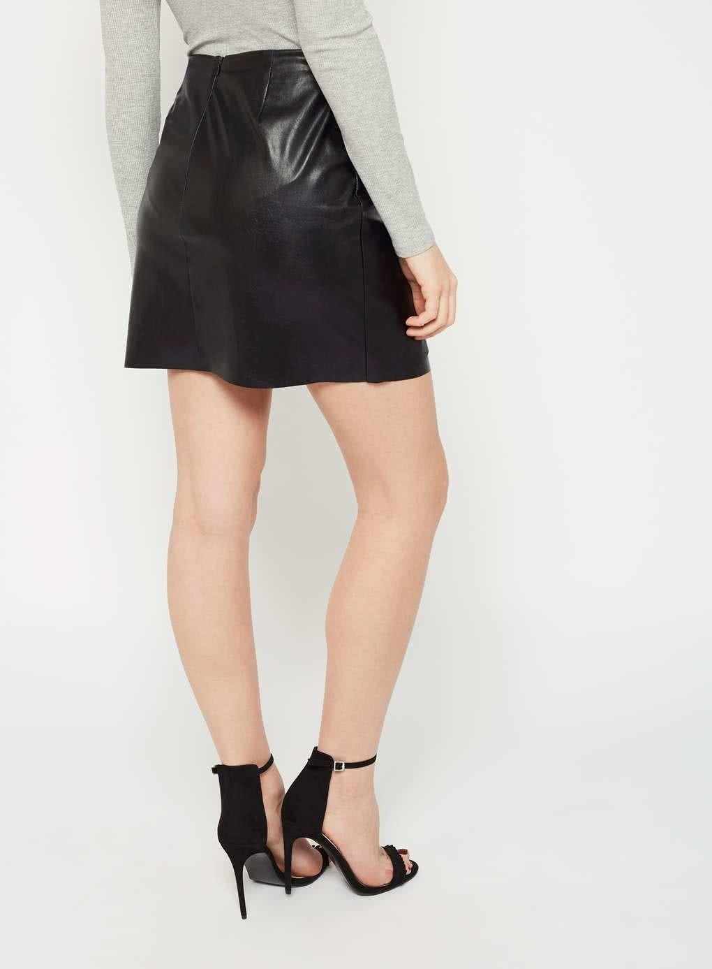0e3768fe3484 Čierna koženková sukňa s uzlíkom Miss Selfridge ...