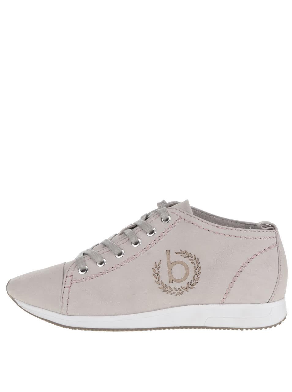 Sivé dámske kožené členkové topánky s potlačou loga bugatti Fina ... a66817eb074