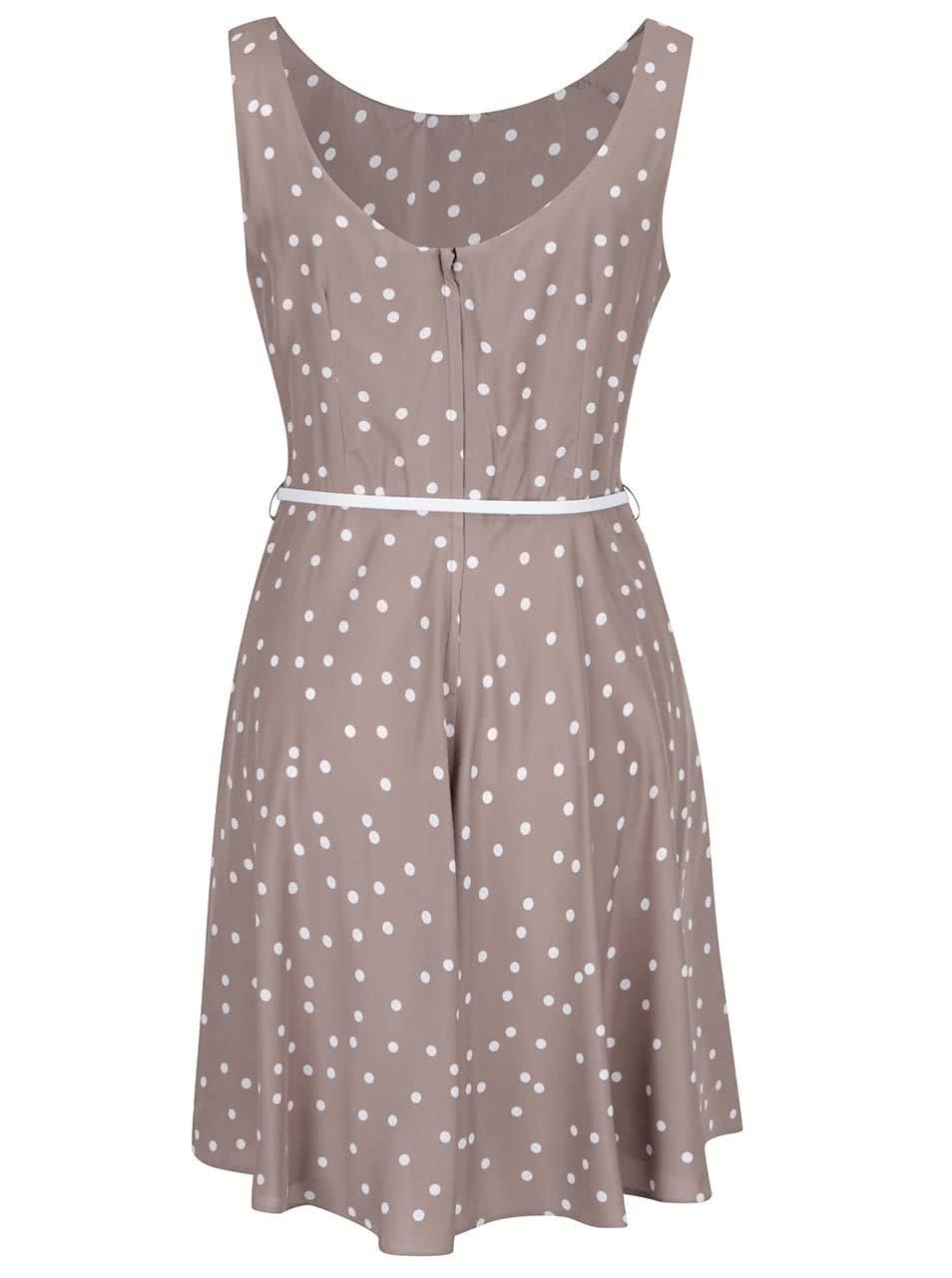 Béžové bodkované šaty s opaskom Apricot ... ec5ef6c8569