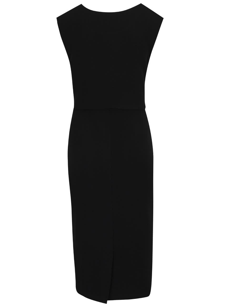 Černé midi šaty s ozdobným uzlem Apricot ... c4b329ba23