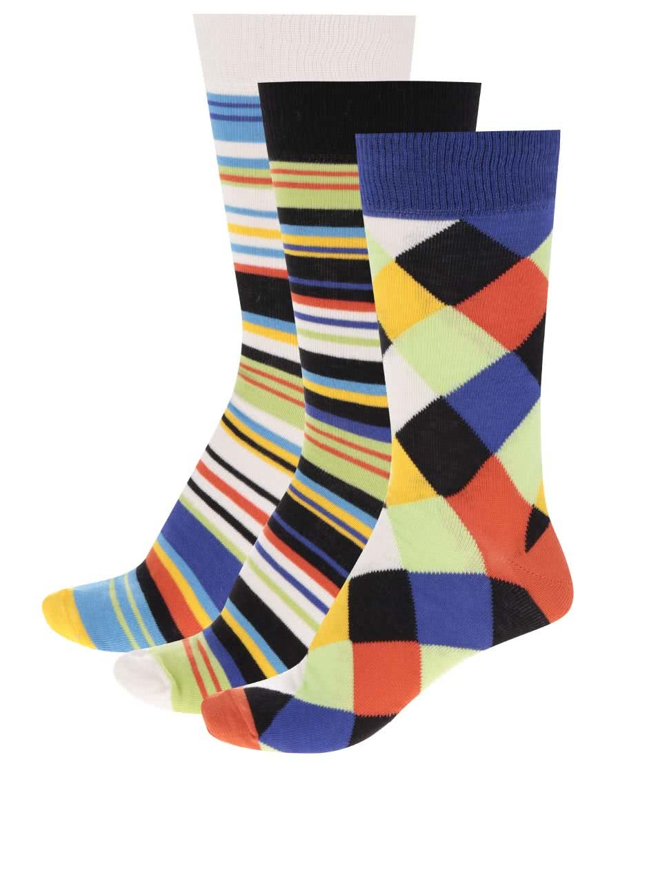 Sada tří unisex vzorovaných ponožek v modré a černé barvě Oddsocks Dylan
