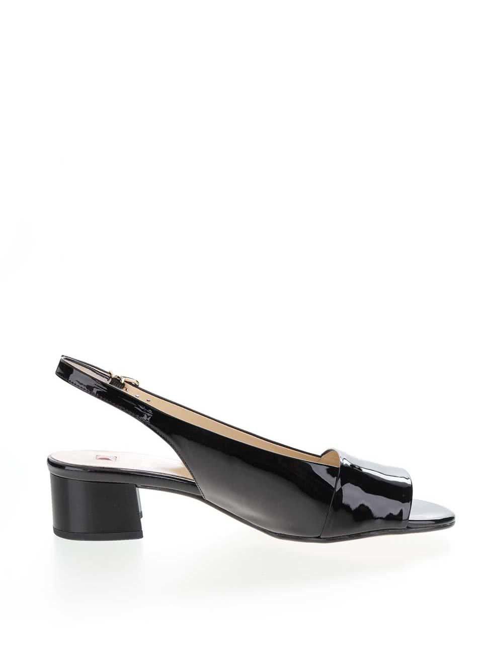 7464cbdbe1 Čierne kožené lesklé sandále na podpätku Högl ...