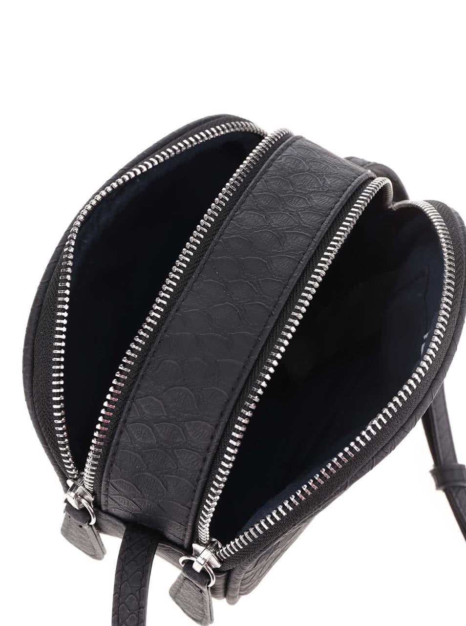 Čierna crossbody kabelka s jemným vzorom Pieces Larissa ... 20d76454805