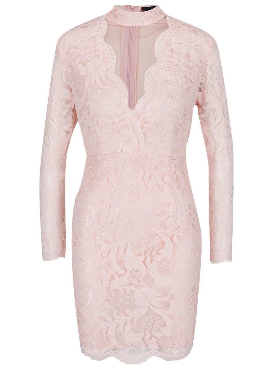32a8b1136143 Ružové čipkované šaty s prestrihom v dekolte AX Paris ...