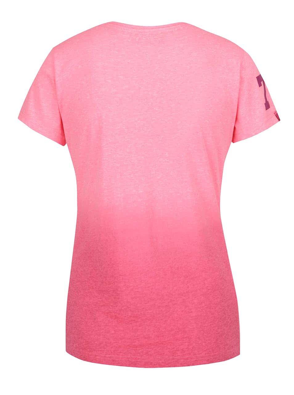 d253af882490 Růžové dámské žíhané tričko s potiskem Superdry ...
