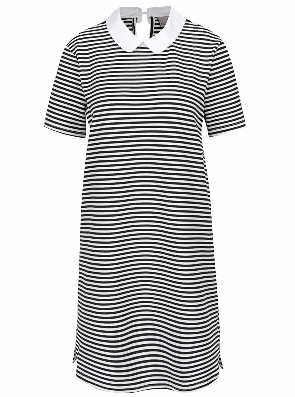 950c573f9193 Černo-bílé volné pruhované šaty s límečkem VERO MODA Kay ...