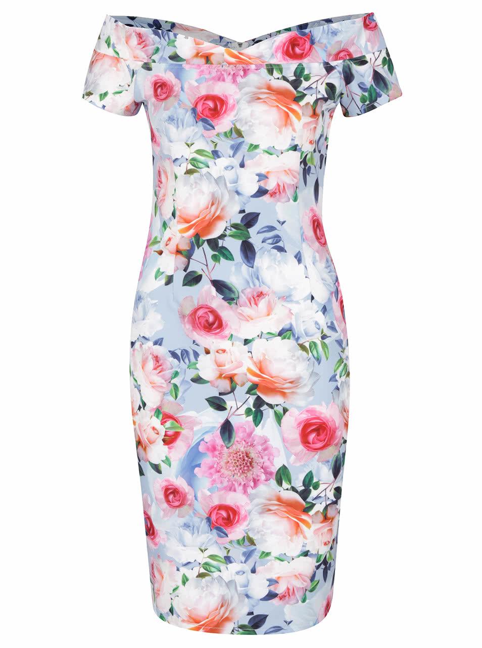 afcba7d33583 Modré kvetinové šaty s odhalenými ramenami Little Mistress ...