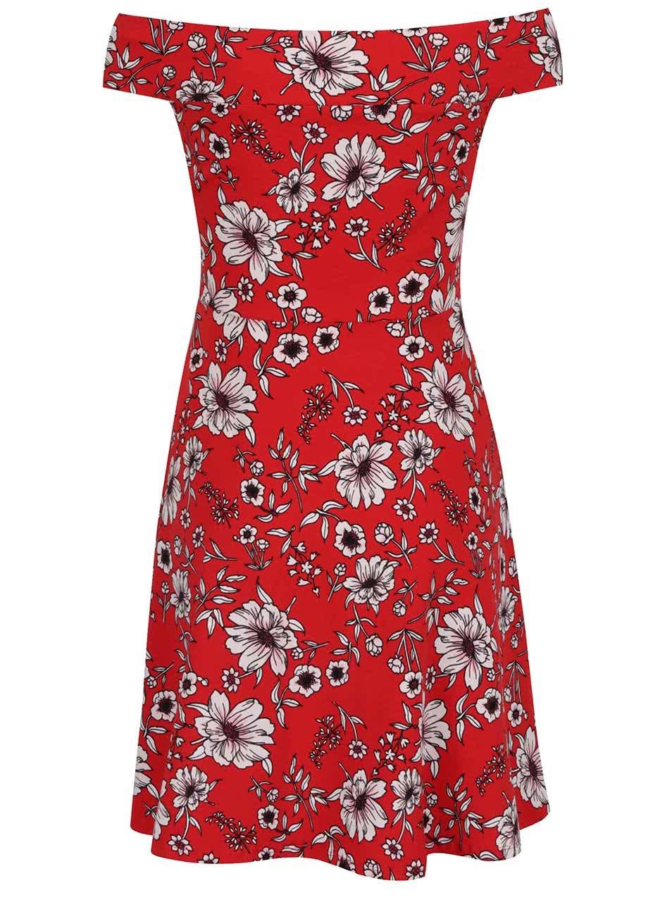 Červené květované šaty s odhalenými rameny Dorothy Perkins ... f8835956ed