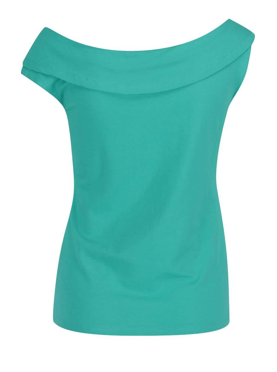 Zelené tričko s lodičkovým výstrihom Skunkfunk ... 7b260e5547