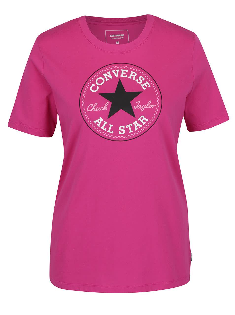 Tmavě růžové dámské tričko s potiskem Converse Core ... 7afe0709ba