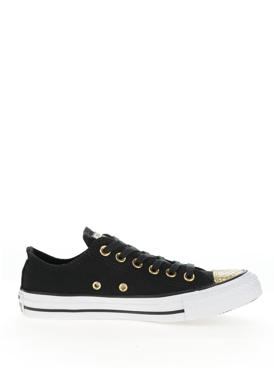 Bílo-černé dámské tenisky s detaily ve zlaté barvě Converse Chuck Taylor  All Star ... 6ca806b2606