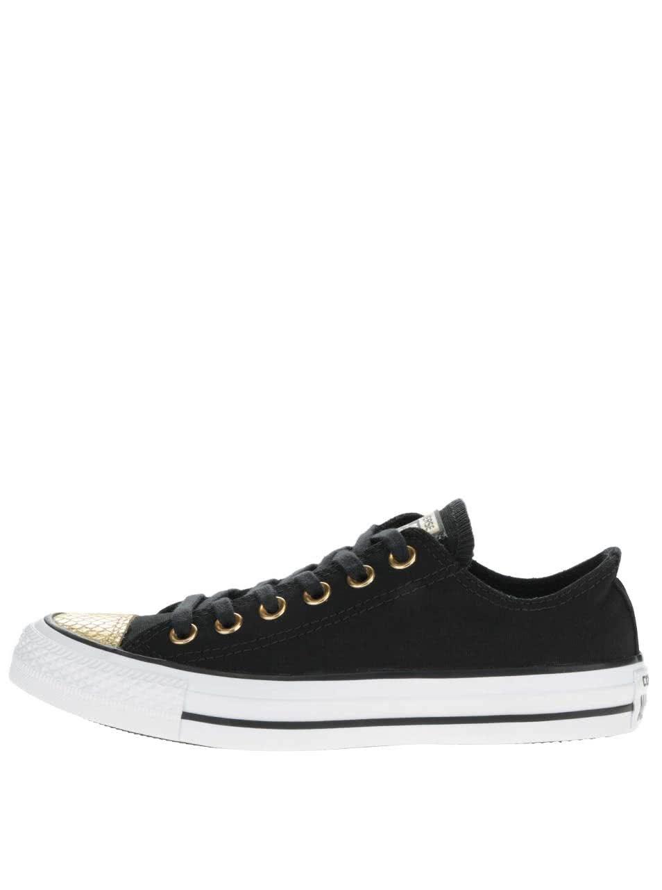 c3ba0314334e5 Bielo-čierne dámske tenisky s detailmi v zlatej farbe Converse Chuck Taylor  All Star ...