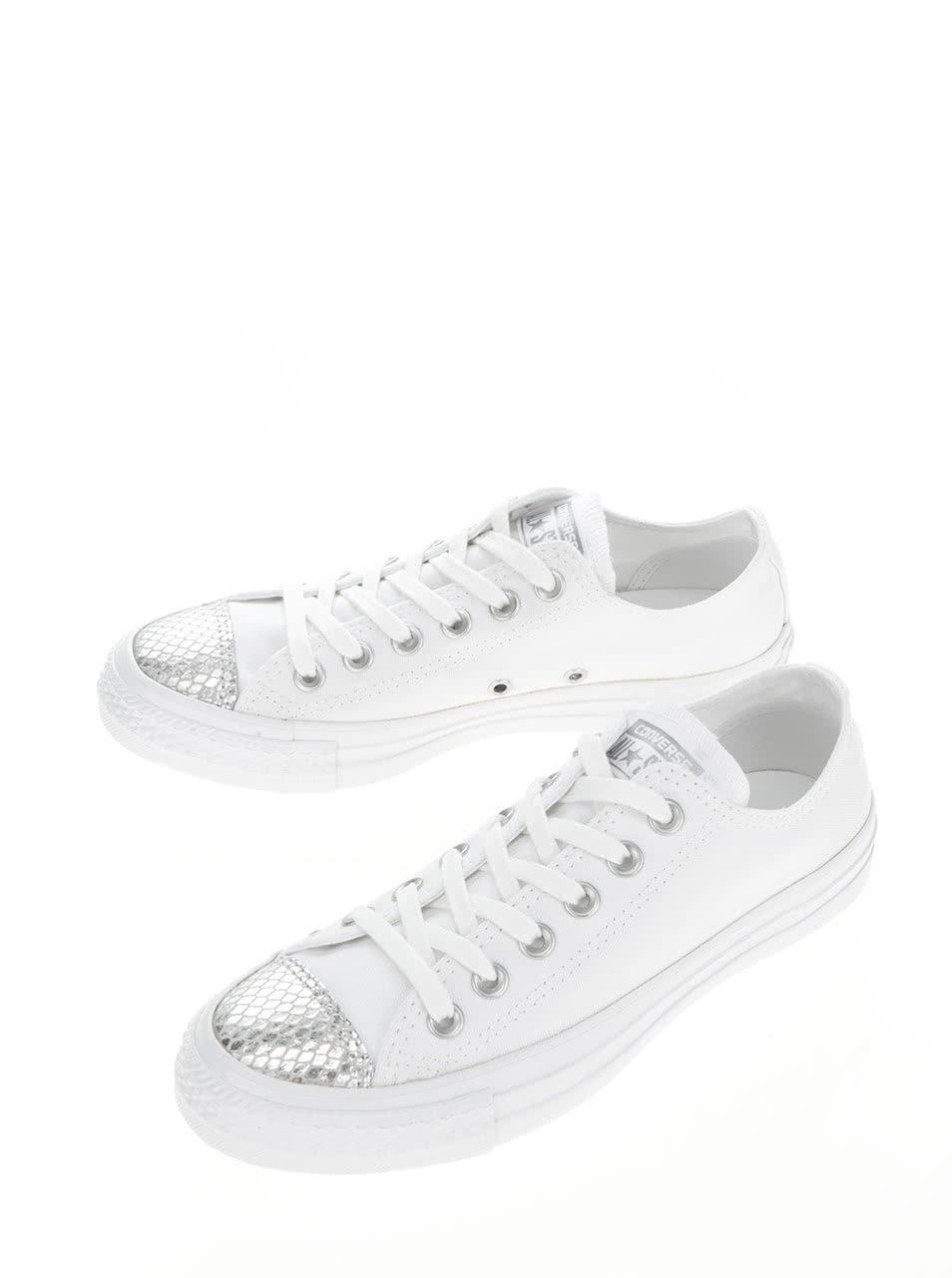 Bílé dámské tenisky s detaily ve stříbrné barvě Converse Chuck Taylor All  Star ... 89891d78ce