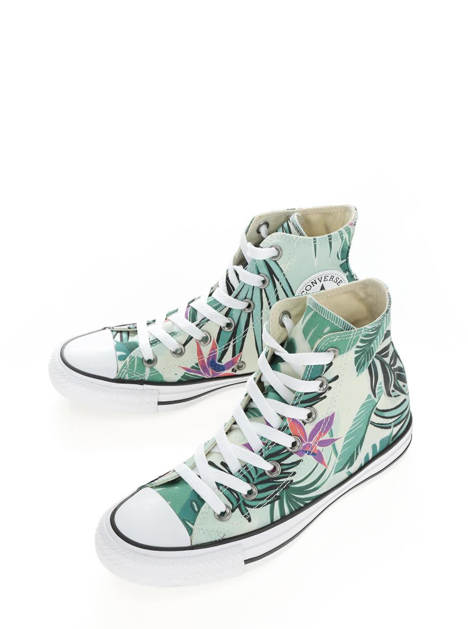 Zelené dámské kotníkové tenisky s tropickým potiskem Converse Chuck Taylor  All Star ... e2b2866893