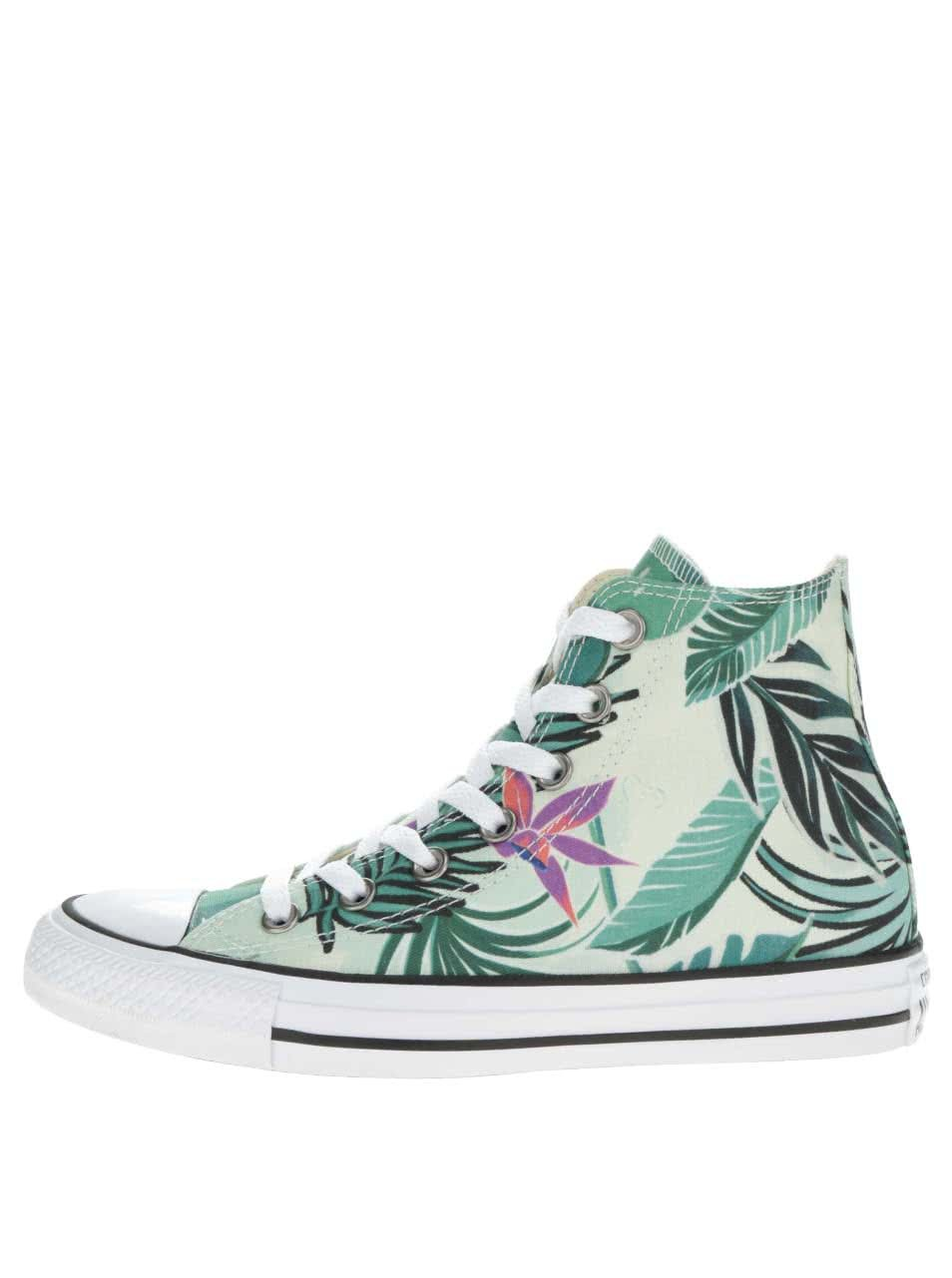Zelené dámské kotníkové tenisky s tropickým potiskem Converse Chuck Taylor  All Star ... e52198c002