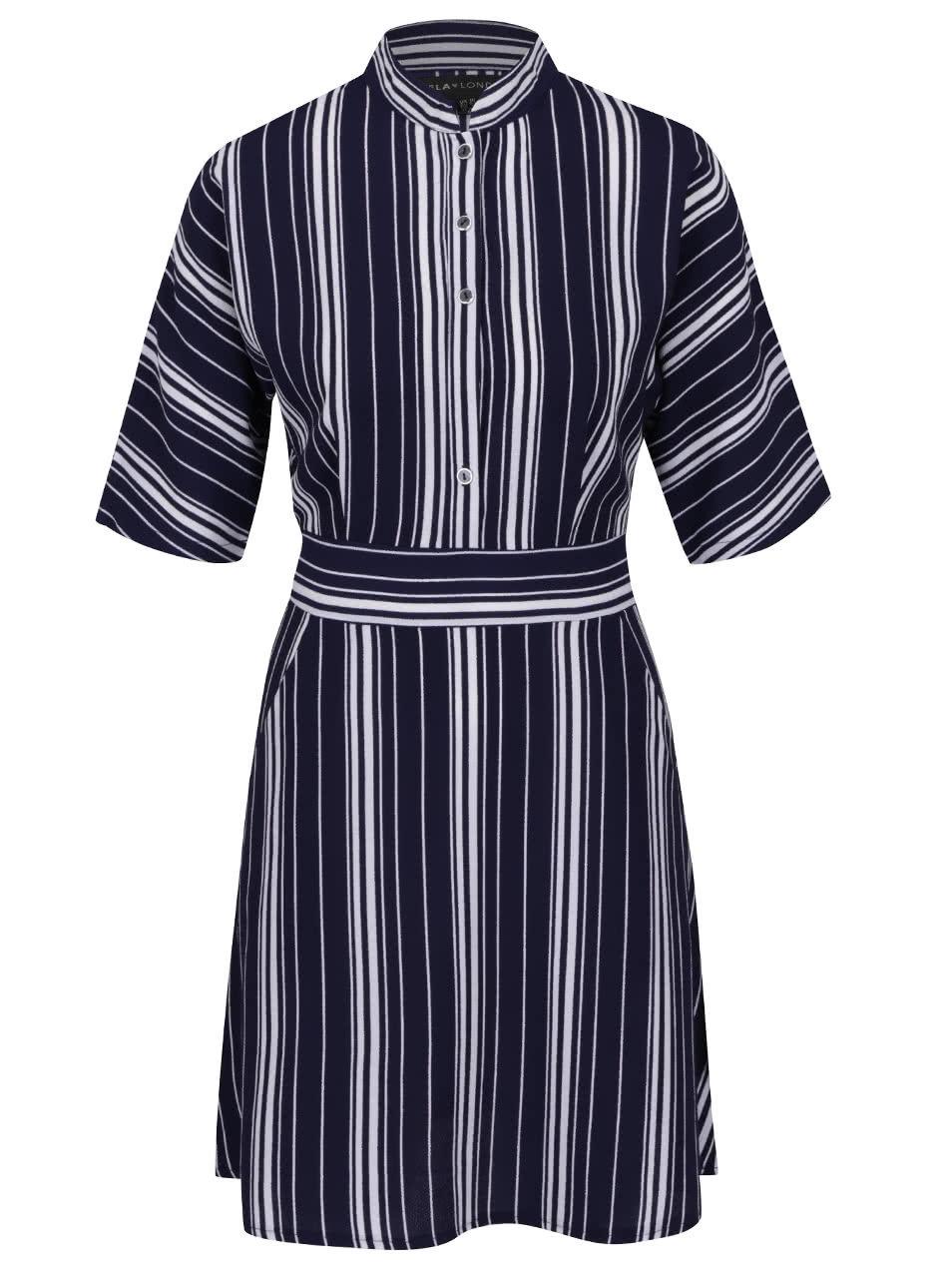 Modro-biele pruhované košeľové šaty s vreckami Mela London ... 550d969fb66