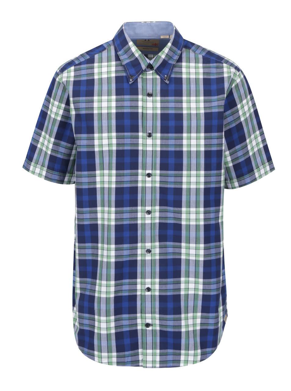 488d21ba39 Zeleno-modrá kockovaná košeľa s krátkym rukávom JP 1880 ...
