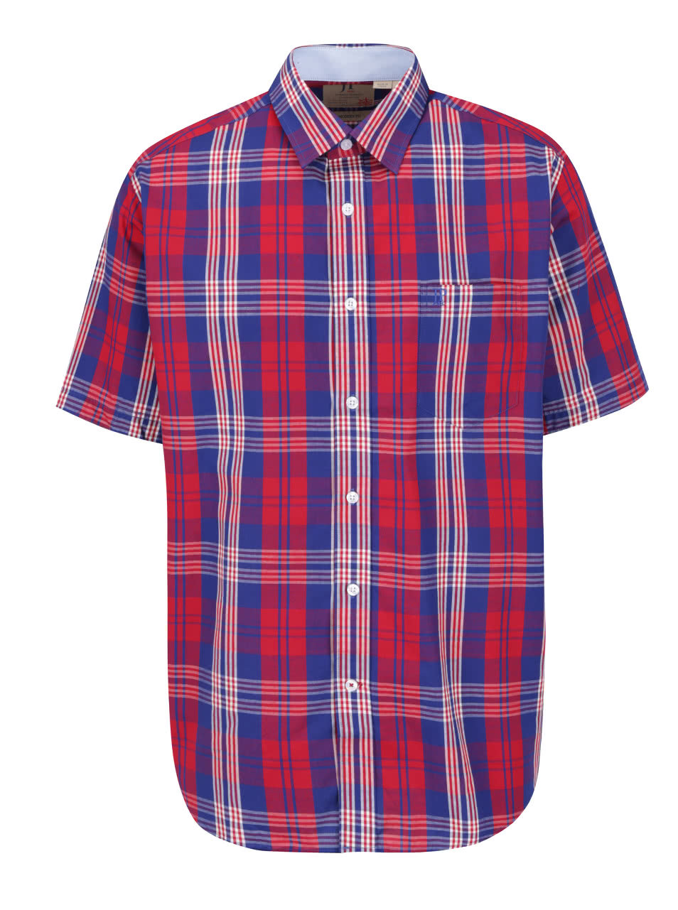 Modro-červená kostkovaná košile s krátkým rukávem JP 1880 ... 1147afaf33