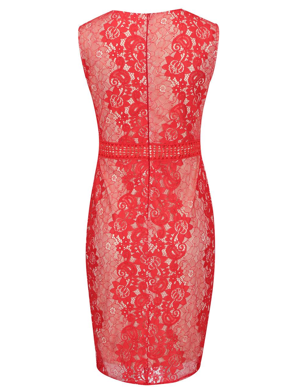 Krémovo-červené čipkované šaty AX Paris ... 268f0224316