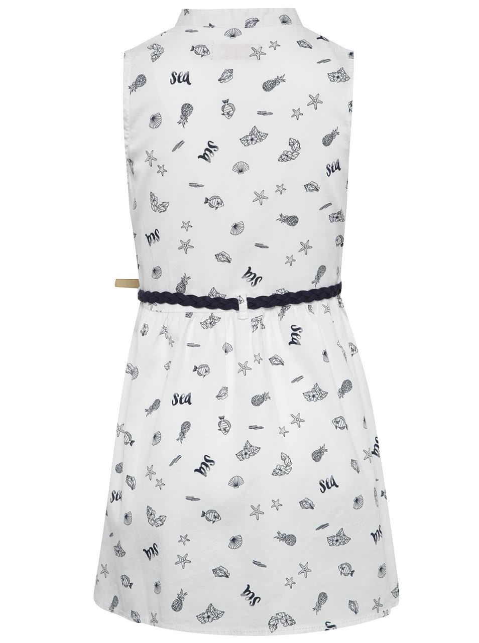 50e13fc6772c Biele vzorované dievčenské šaty s opaskom Bóboli ...