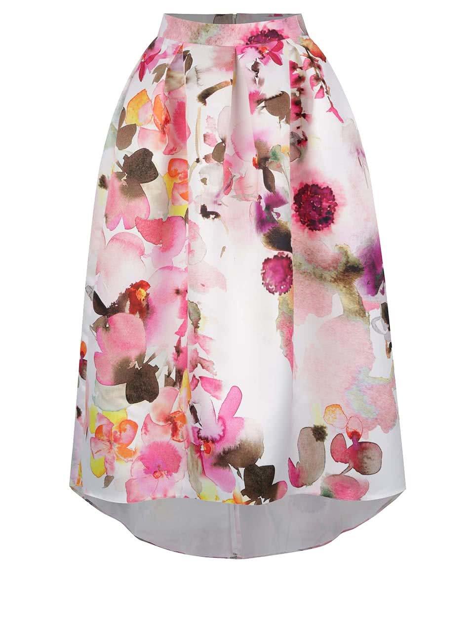 80f1997652df Růžovo-krémová květovaná midi sukně Closet ...