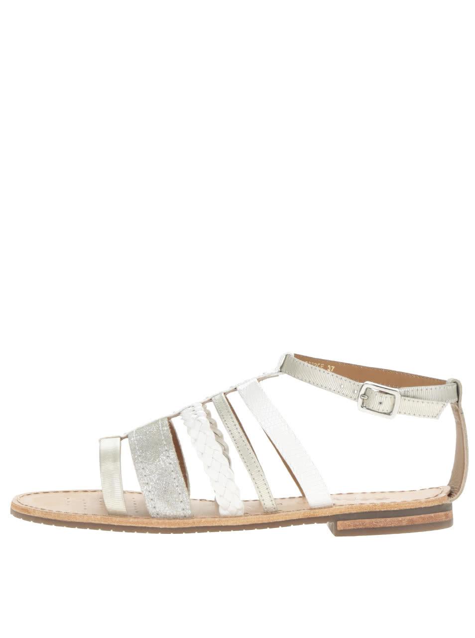 523831e5f6de Dámske kožené sandále v bielo-striebornej farbe Geox Sozy ...