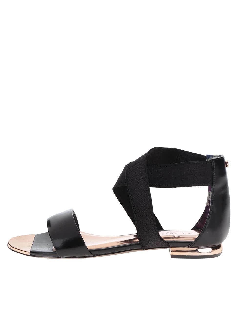 Černé lesklépáskové kožené sandály Ted Baker Laana ... 569ea5bbf9