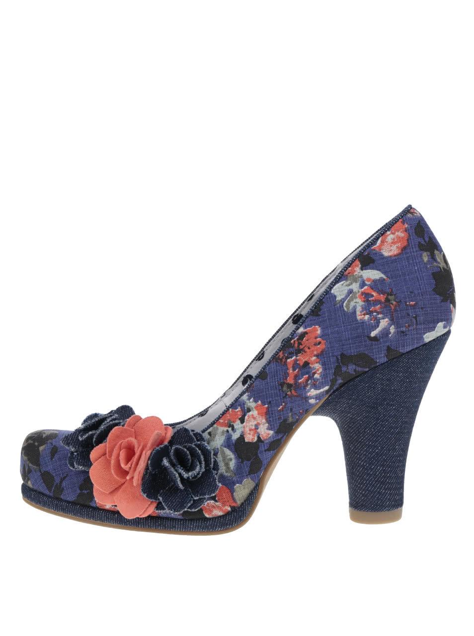 132f352c6a79 Tmavomodré kvetované lodičky s kvetom Ruby Shoo Eva ...