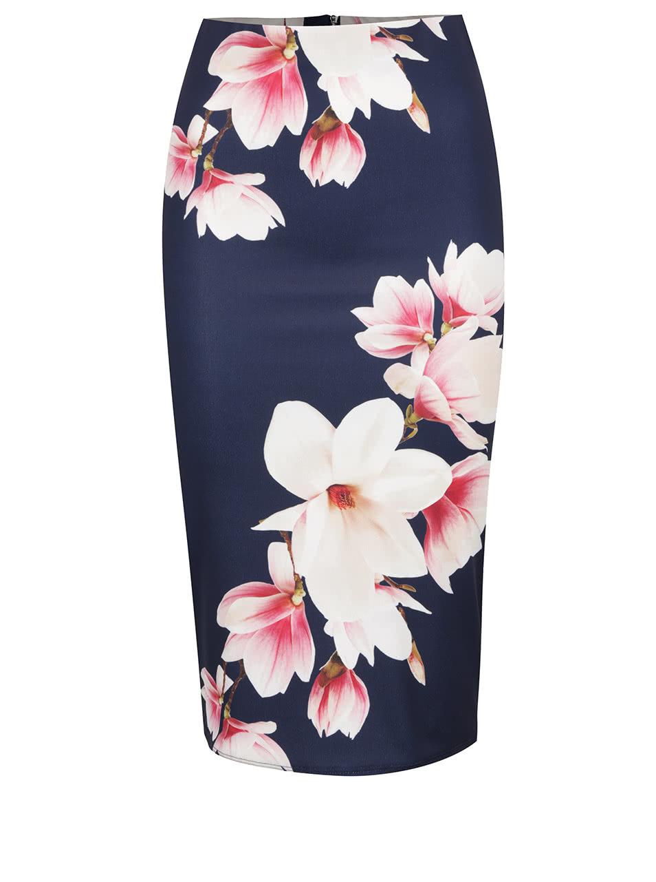 fb76877244f2 Tmavě modrá květovaná pouzdrová sukně Dorothy Perkins ...