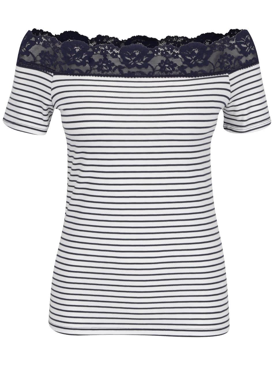 8b7e028d76a9 Modro-biele pruhované tričko s čipkou Dorothy Perkins ...