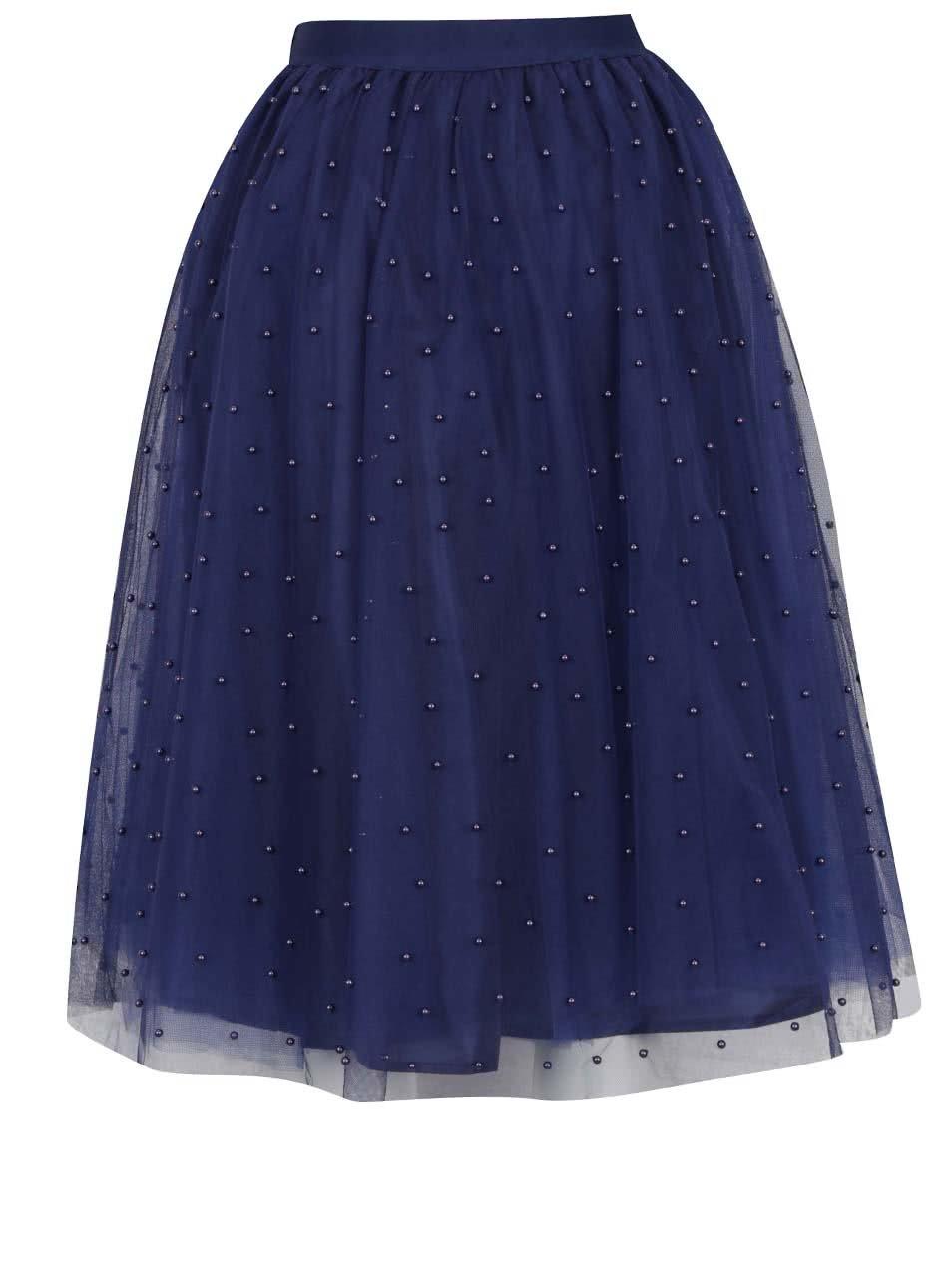 Tmavě modrá midi sukně s korálkovou aplikací Little Mistress ... a5a2dbfec9