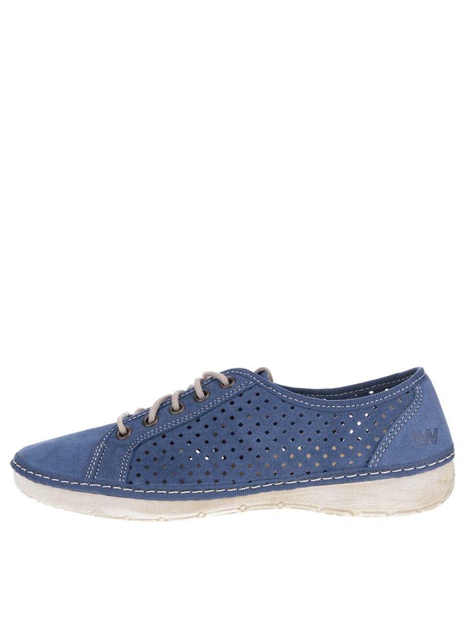 Tmavě modré dámské kožené perforované tenisky Weinbrenner ... 399dab5571
