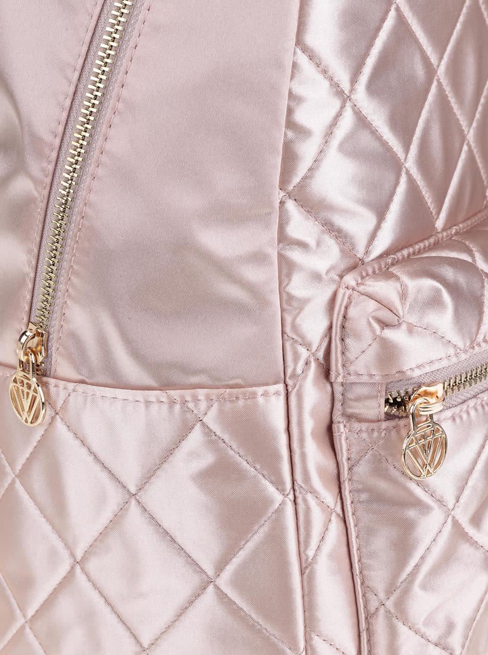 Svetloružový lesklý prešívaný batoh TALLY WEiJL ... b41fb7f3fa2