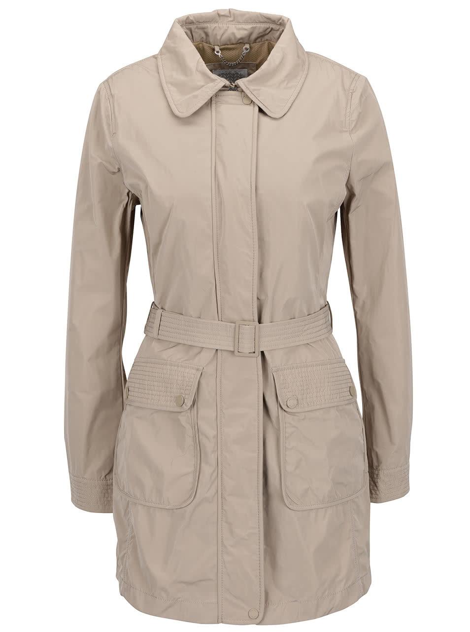 Béžový dámský kabát s páskem Geox ... a7a7179485