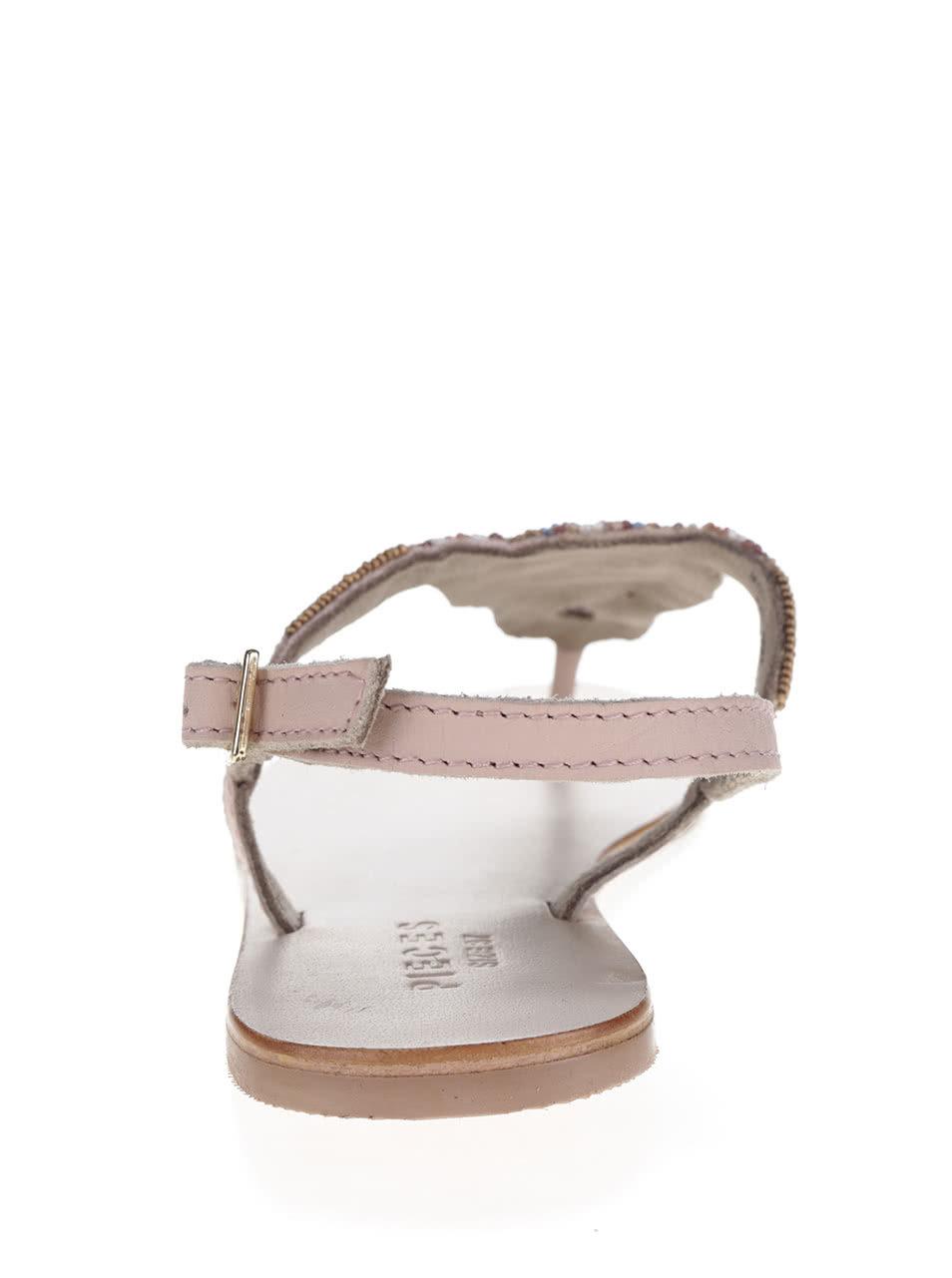 162284b42620 Svetloružové kožené sandále s korálikmi Pieces Carmen ...