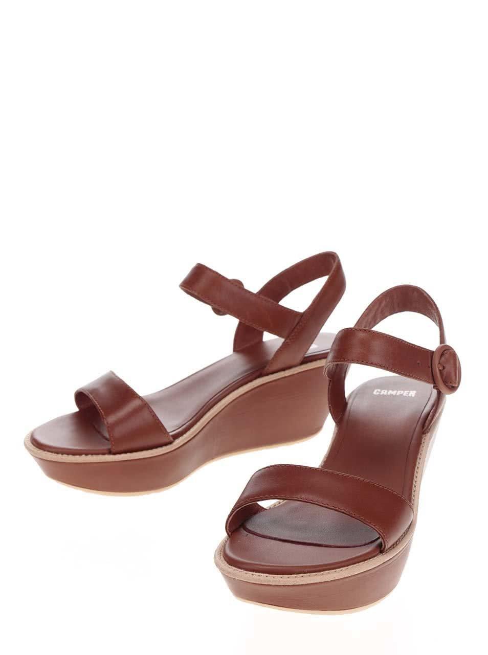 4fb90b4d4af7 Hnedé dámske kožené sandále na platforme Camper ...